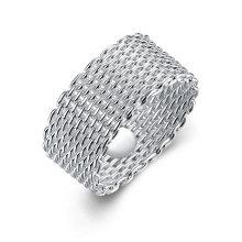 Оптовой продаже сетчатой круглый кольцо Посеребренные трикотажные кольцо в Европе