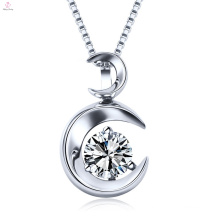 Latest Sterling Silver Crystal Moon Necklace Jewelry
