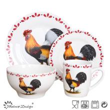 Juego de cena de porcelana con diseño de pollo