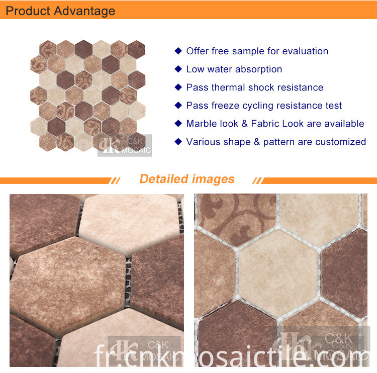 Baroque Beige Hexagon Abstract Pattern Mosaic (2)