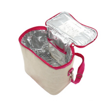 Eco friendly Natural Jute Cooler Bags Portable beach bag with cooler Durable ice cooler bag