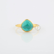 Teal Quartz Gemstone Beautiful Silver Ring For Wholesale Jewelry Supplier