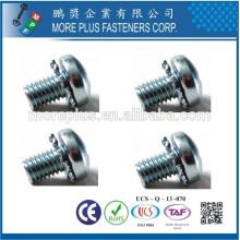 Hecho en Taiwán Phillips Pozi Torx Tornillos de la cabeza de la cacerola y combinación Tooth External de la cerradura arandelas Ensambló los tornillos de SEMS