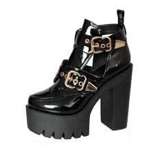 2019 Women Punk Rivet Boots Super High Thick Heel Platform Patent Leather Sandals