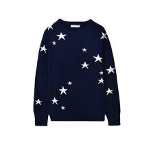 PK18A43HX 100% Cashmere Sweater Star Pattern Jacquard Crew Neck Sweater For Women