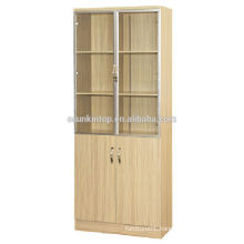 Two door teak wood book shelf for office used, Commerical office furniture (KB843)