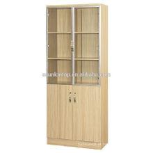 Prateleira de livros de madeira de teca de duas portas para escritório usado, Mobiliário de escritório comercial (KB843)