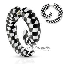 Unique Design Acrylique Noir et Blanc UV Faux Oreilles Spirales
