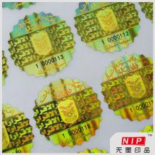 Ouro da calcadeira rolo de adesivos de holograma prova com tinta fluorescente
