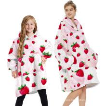 Oversized Adult Kids Blanket Sweatshirt Comfortable Hoodie Blanket with Digital Printing Pattern