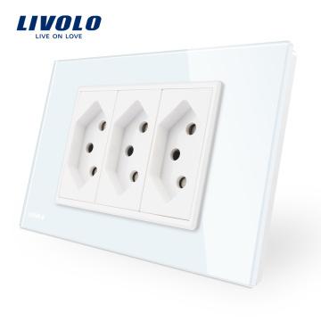 Cadre en verre trempé standard US de Livolo Smart Home Solution Prise Suisse blanche / noire VL-C9C3CH-11