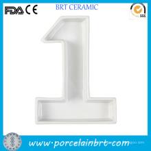 Modern Blank White Number Plate Letter Dish