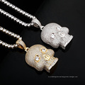 New Skull Pendant Necklace Gold Color Tennis Chain High Quality Ice Micro Pave Cubic Zirconia Hip Hop Fashion Necklace Jewellery
