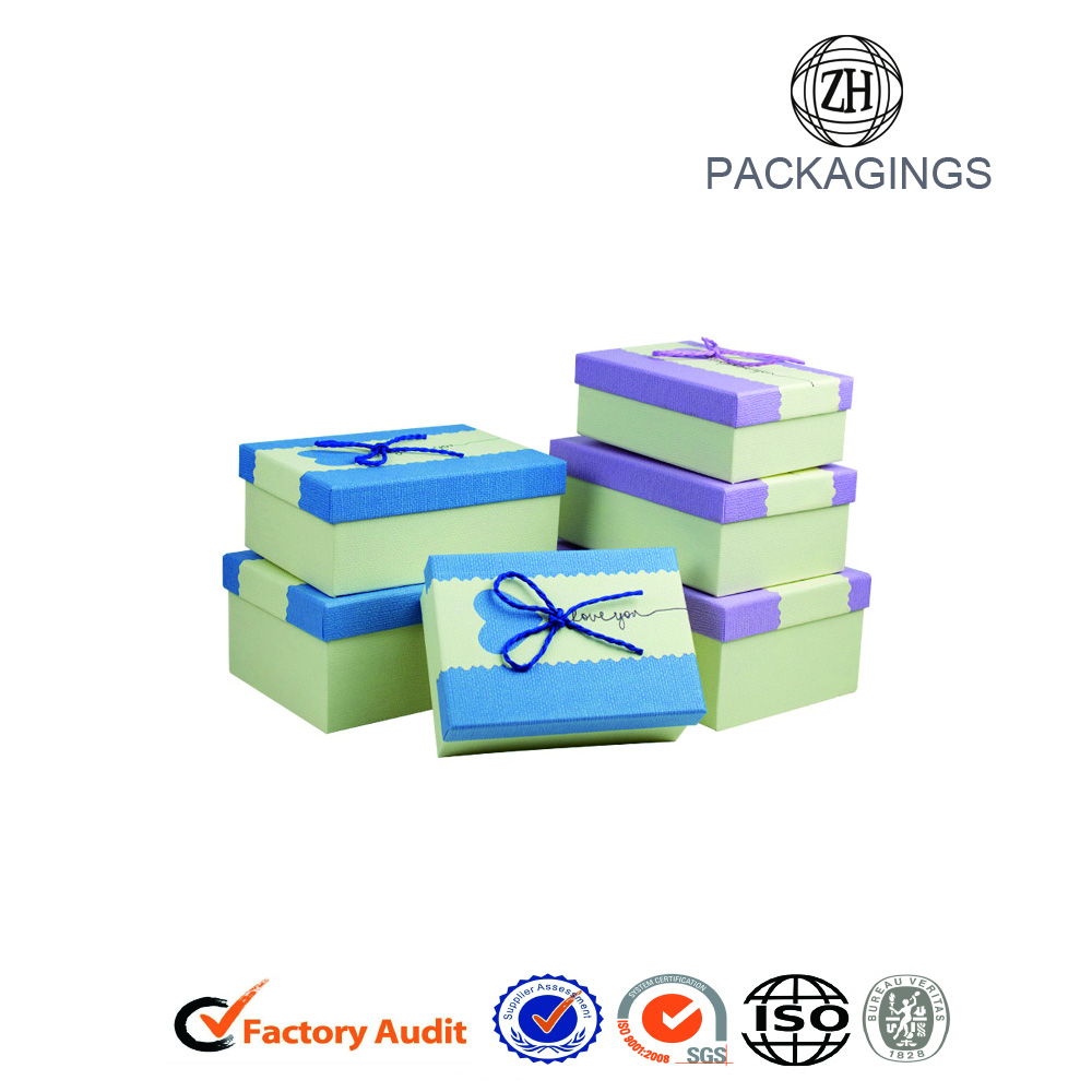 Fancy Gift Paper Board Boxes With Ribbon