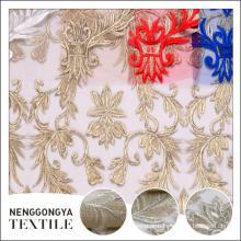 Made in China novo bordado tecido de vestido de poliéster spandex