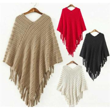Las últimas señoras del diseño Fancy Tassels Sweater Ponchos y Capes Chales