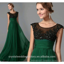 New Design Elegant Cheap Cap Sleeve Green Patterns Beach Bridesmaid or Evening Dresses Long LB36