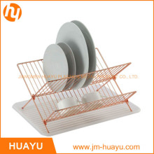 Foldable Gold Copper X Shape 2-Tier Steel Shelf Small Dish Rack with Drainboard
