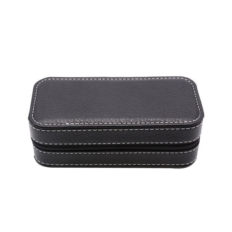 Custom luxury leather travel watch case with sponge watch packing box bag zipper leather watch box case