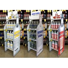 Multi-Function Knock Down Custom Liquor Store Free Standing Bottle Shape Storage Wine Bottle Stand