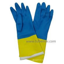 Gants bi-couleur Gants en latex en néoprène Gant de travail pour industrie de la sécurité