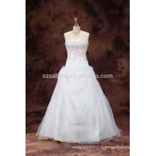 2017 perles brodées organza robe de mariée avec de vraies images