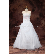 2017 beads embroidered organza wedding dress with real pictures