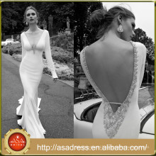 AR08 Alibaba Romantic Vintage V Neck Crystal Beaded Beach Casual Long Sleeve Sexy Wedding Dress Patterns