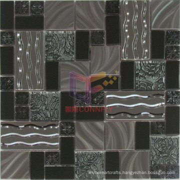 Flower and Wave Pattern Stainless Steel Glass Mosaic Tiles (CFM907)