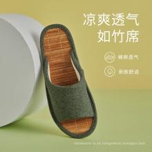 Sandálias e chinelos de bambu de linho de verão unissex