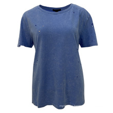 Ladies' New Arrival Hip Hop Casual Cotton Women Short Sleeve T-Shirt With Holes Appearance
