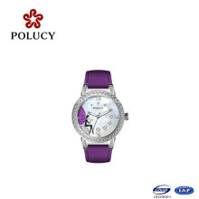 Colorful Leather Band Fashion Wholesale Sport Watch with Butterfly Dial