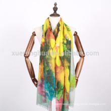 bufanda mercerizada tejida floral de las lanas de la impresión digital para el otoño