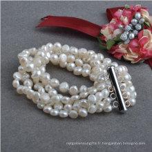 Bracelet en perles d'eau douce naturelle baroque de 5strands Nugget (E150039)