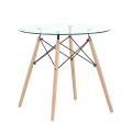 Table de salle à manger rectangulaire en verre trempé et pieds en bois