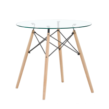 Tischplatte aus gehärtetem Glas und Holzbeinen Retangular Dining Table