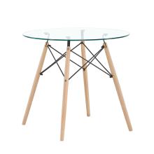 Стеклянная столешница из закаленного стекла и деревянные ножки