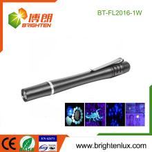 Vente en vrac en usine 2 * AA Alimenté par batterie Métal Métal Métier Vérification de l'argent conduit uv Torch Light Pen