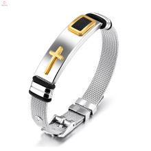 Homens punk jóias declaração pulseira de aço inoxidável cruz pulseira pulseiras