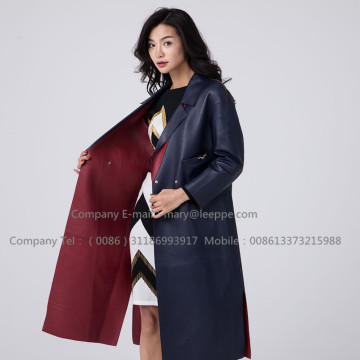 Kvinnor Long Sheepskin Leather Overcoat
