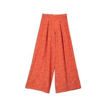 Pantalones palazzo largos casuales de pierna ancha de cintura alta para mujer