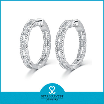 Newest Design Fashion Round Gold Earrings Designs for Girls (E-0248)