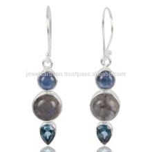 Jarita de Kyanite genuína e azar azul de topázio suíça 925 Streling Sliver Earring