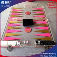 Ensemble de backgammon en acrylique rose pour jeu de société