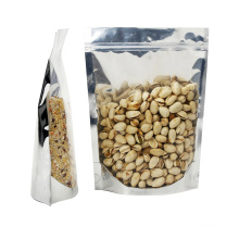 OEM Aluminum Foil Silver Snack Nut Dried Food Package Bag with Window