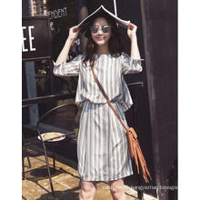 Latest Stripe Round-Neck Women′s Shirt Dress