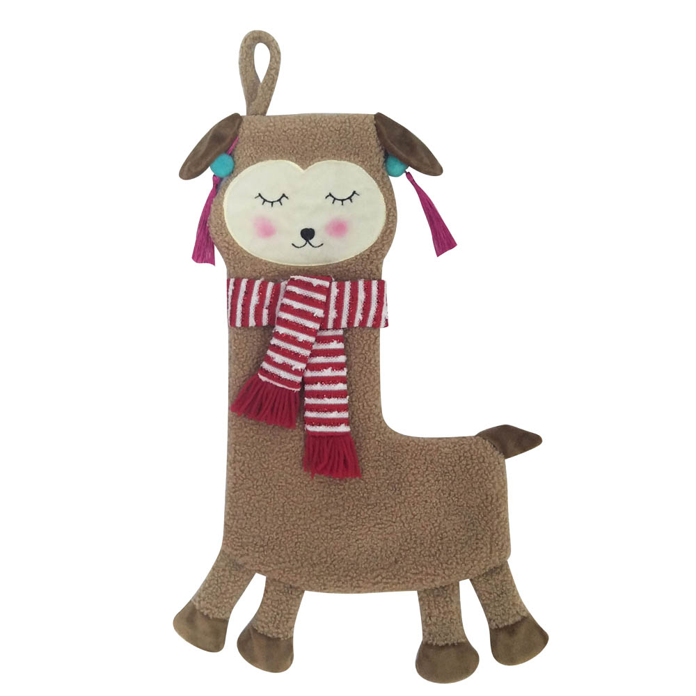 Llama Shaped Christmas Stocking