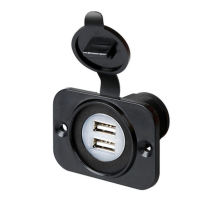 Water Resistant Twin USB Socket Dash Mount Car 12 & 24V 2.1 AMP Charger Adapter