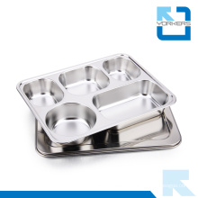 28.2*22cm High Quality 304 Stainless Steel School Lunch Plate Food Tray Plate