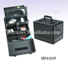 high quality luxury cosmetic case metal with mirror and 3 trays inside